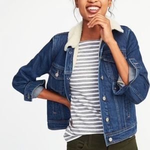 Old Navy Dark Denim Shearling Jacket